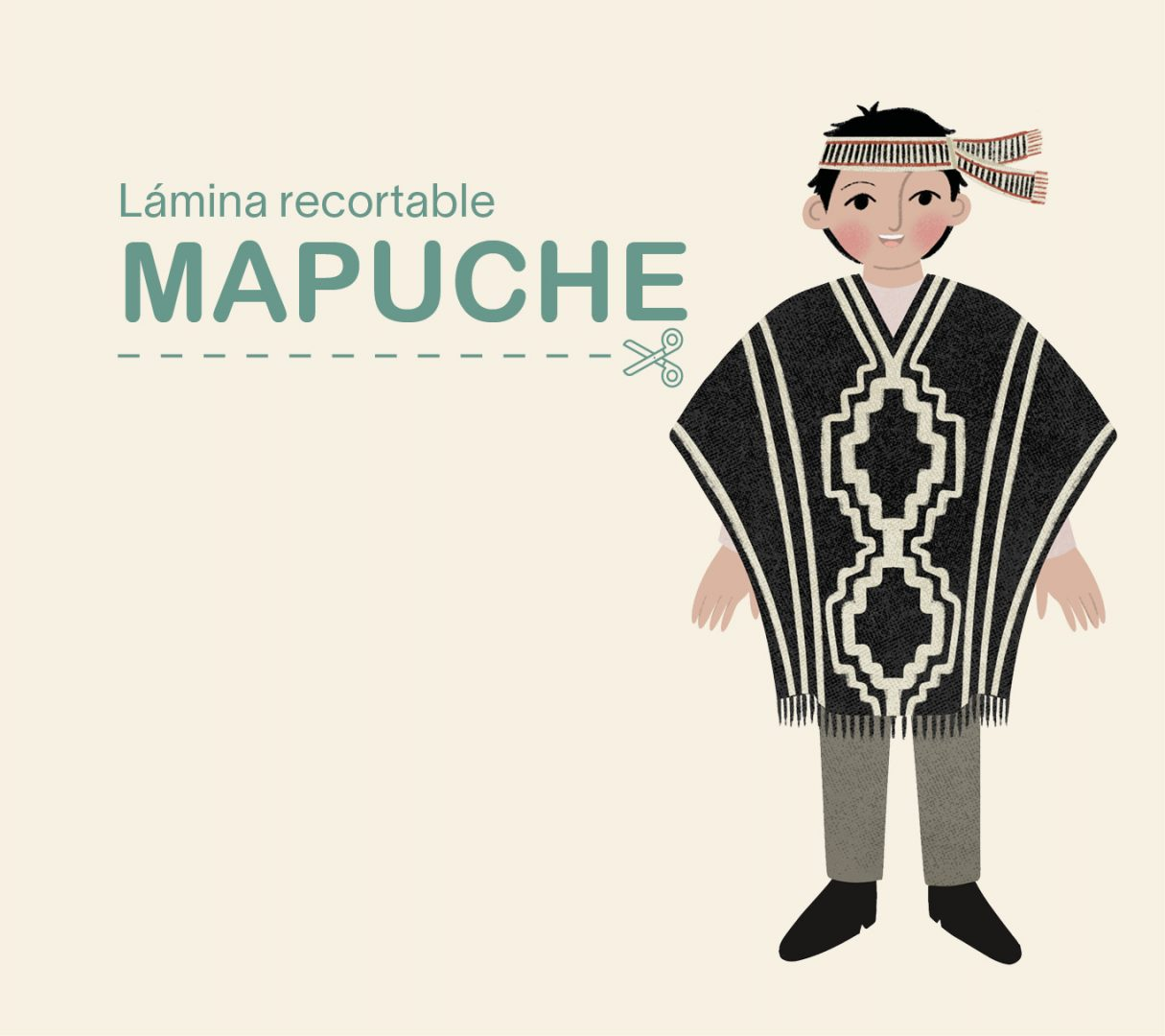 Lámina recortable – niño Mapuche