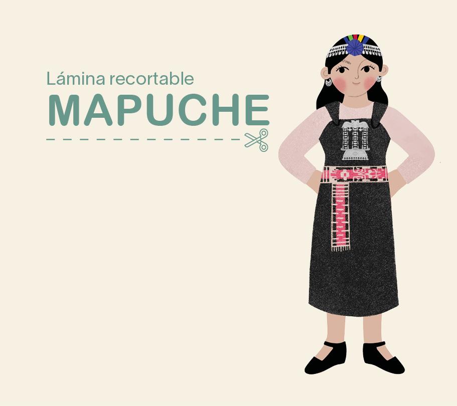 Lámina recortable – niña Mapuche